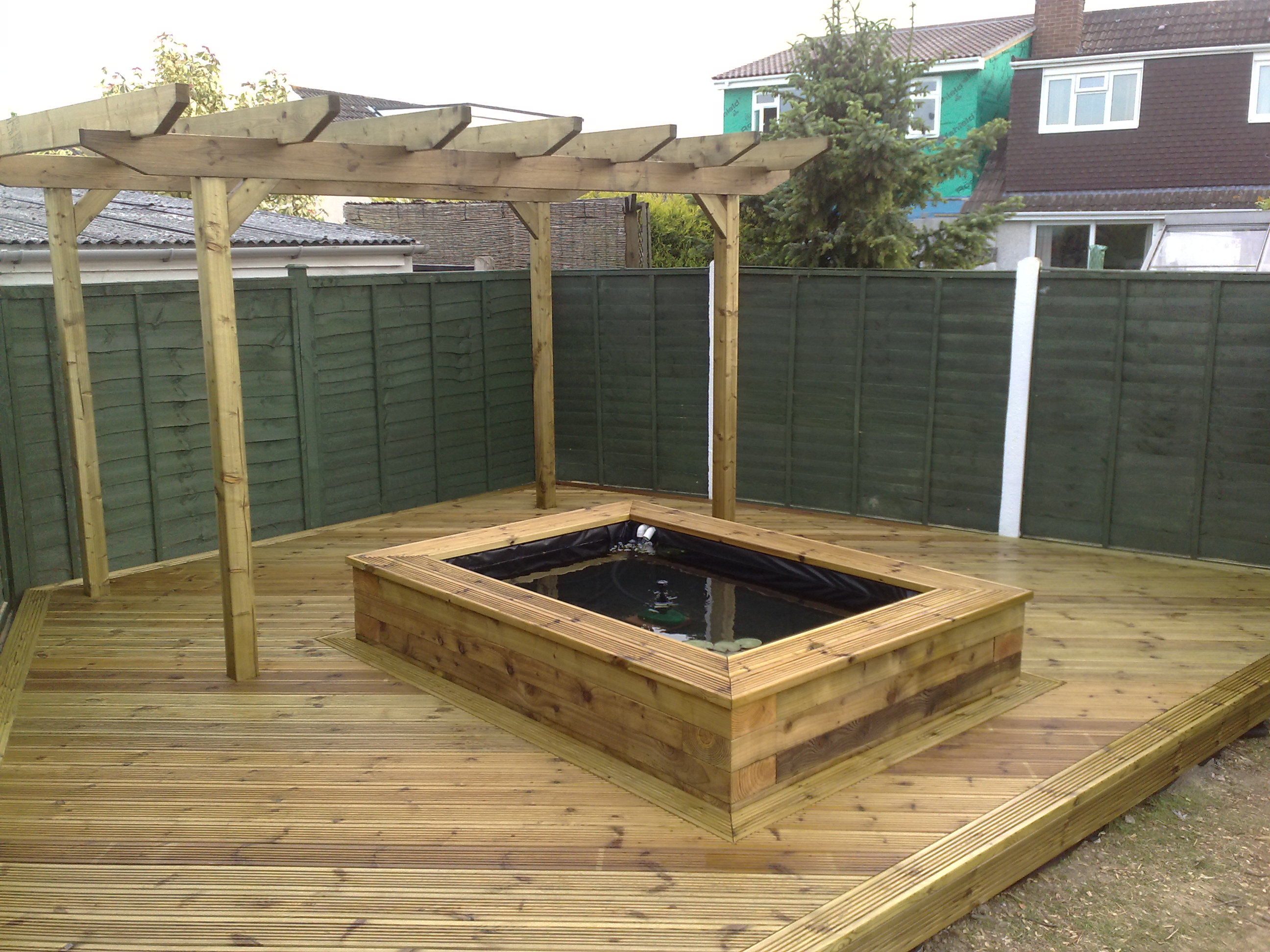 Completed Decking Pergola And Raised Pond